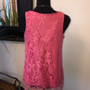 BKE Tops - BKE Pink/Coral Lace Tank